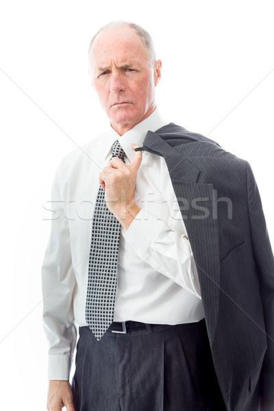 Portré komoly üzletember menedzser póló nyakkendő Stock fotó © bmonteny