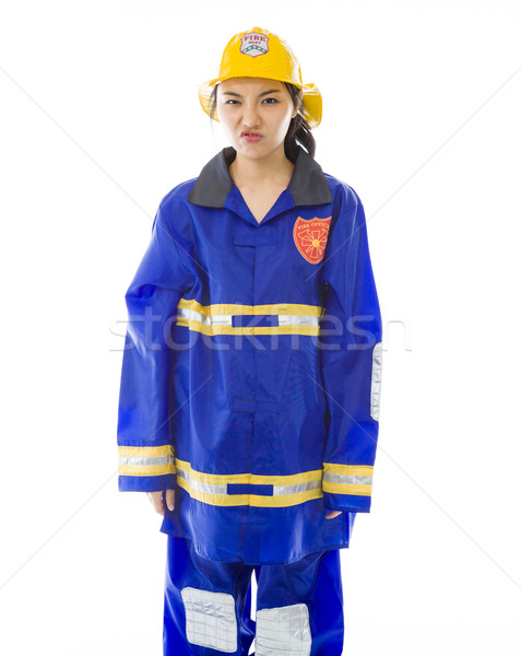 Lady firefighter looking angry Stock photo © bmonteny