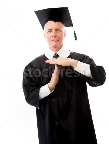 Senior mannelijke afgestudeerde gebaar onderwijs Stockfoto © bmonteny
