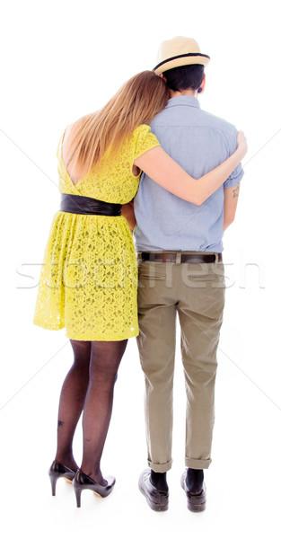 Achteraanzicht lesbische paar liefde schoen jurk Stockfoto © bmonteny