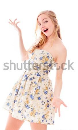 Côté profile jeune femme pense robe belle Photo stock © bmonteny