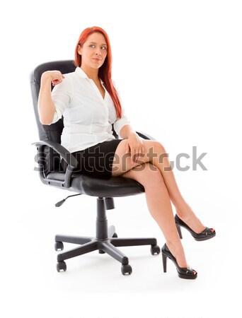 Szexi ázsiai mikulás ül irodai szék vonzó Stock fotó © bmonteny