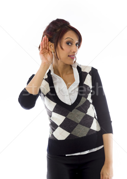 Indian businesswoman trying to listen Stock photo © bmonteny