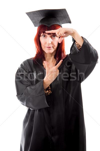 érett diák készít keret ujjak nő Stock fotó © bmonteny