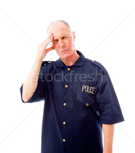 Politieagent lijden hoofdpijn Blauw verdriet fotografie Stockfoto © bmonteny