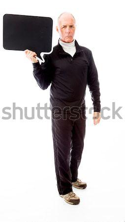 Senior man tekstballon communicatie praten Stockfoto © bmonteny
