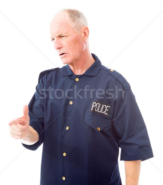 Rendőr biztonság rendőrség idős férfi düh fotózás Stock fotó © bmonteny