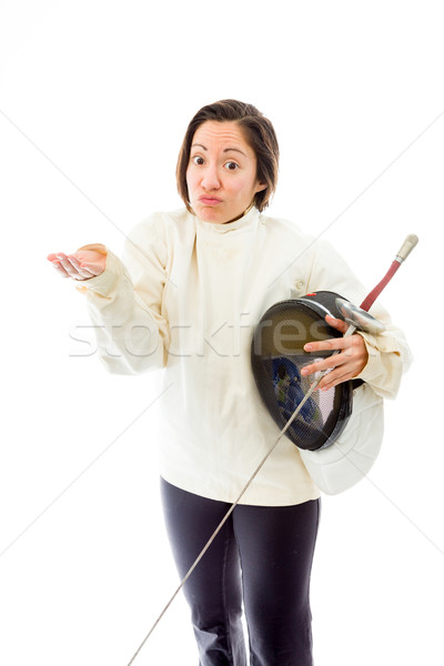 Stock photo: Female fencer shrugging