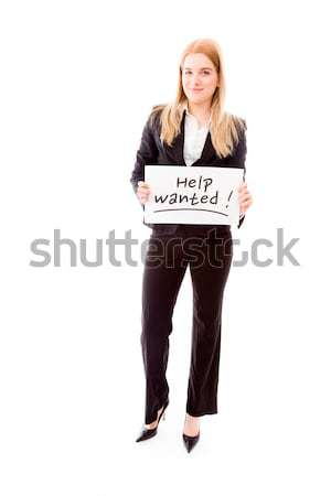 Businesswoman holding a message board with the text words 'Help' Stock photo © bmonteny