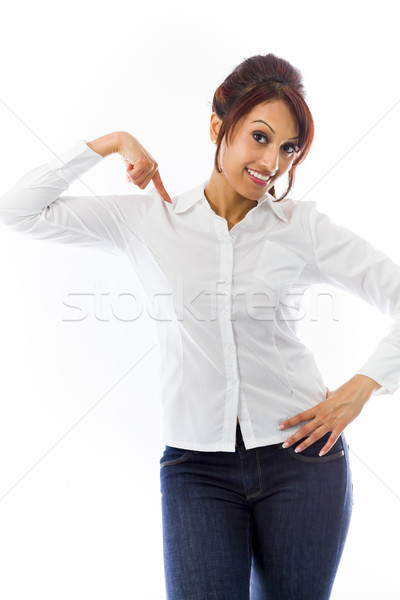 Indian young woman pointing at herself isolated over white background Stock photo © bmonteny