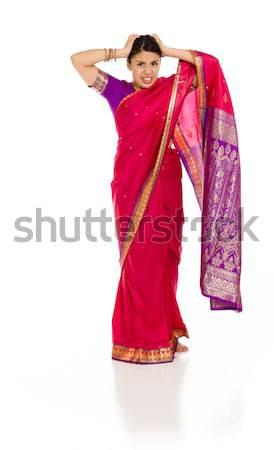 молодые индийской женщину остановки жест Сток-фото © bmonteny
