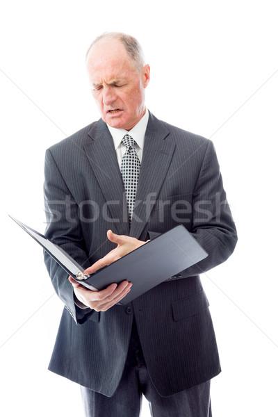 Empresário arquivo raiva planejamento gritando papelada Foto stock © bmonteny