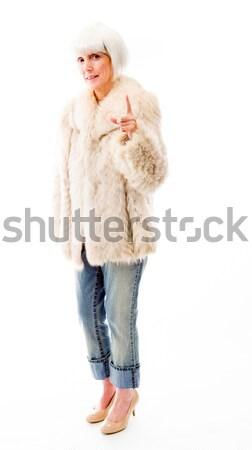 Idős nő kéz száj rázkódás portré Stock fotó © bmonteny