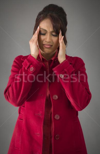 Indiai fiatal nő szenvedés fejfájás felnőtt nő Stock fotó © bmonteny