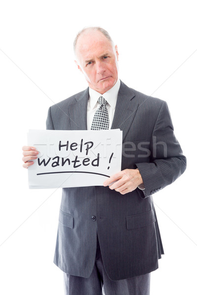 Businessman holding a message board with the text words 'Help wa Stock photo © bmonteny