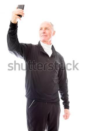 Senior homem sucesso comunicação felicidade Foto stock © bmonteny