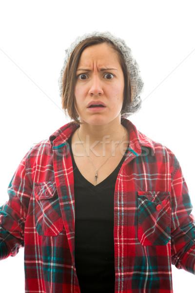 Aggódó nő mi izolált fehér fiatal felnőtt Stock fotó © bmonteny