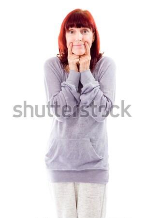 érett nő mutat mosolygós arc jókedv vicces áll Stock fotó © bmonteny