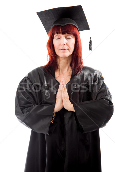 Mature student standing with hands clasped Stock photo © bmonteny