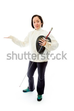 Stock photo: Female fencer looking frustrated