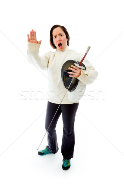 Female fencer making stop gesture sign Stock photo © bmonteny