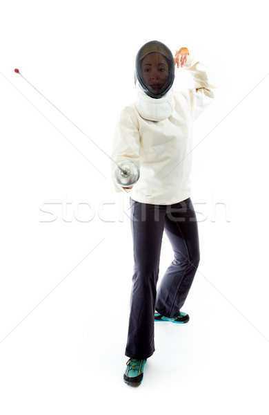 Female fencer practicing her fencing technique Stock photo © bmonteny