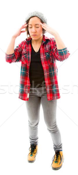 Mulher jovem meditando caucasiano mulher isolado Foto stock © bmonteny