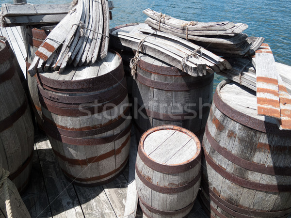 Wooden barrels at a pier Stock photo © bmonteny