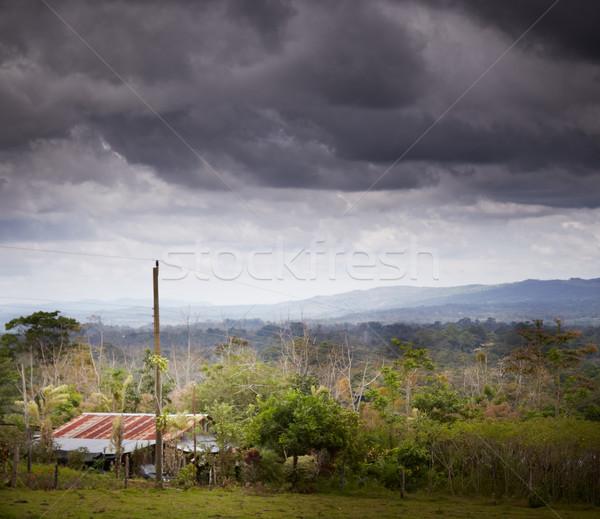 Kunyhó erdő Costa Rica égbolt természet tájkép Stock fotó © bmonteny