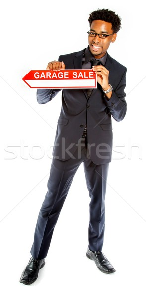 Attractive afro-american business man posing in studio Stock photo © bmonteny