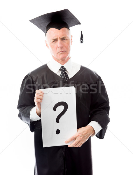 Idős férfi diplomás kérdőjel felirat plakát Stock fotó © bmonteny
