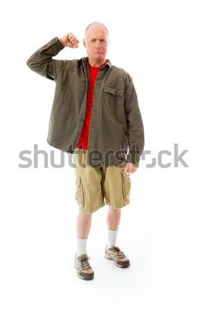 Senior man tonen af spier portret Stockfoto © bmonteny
