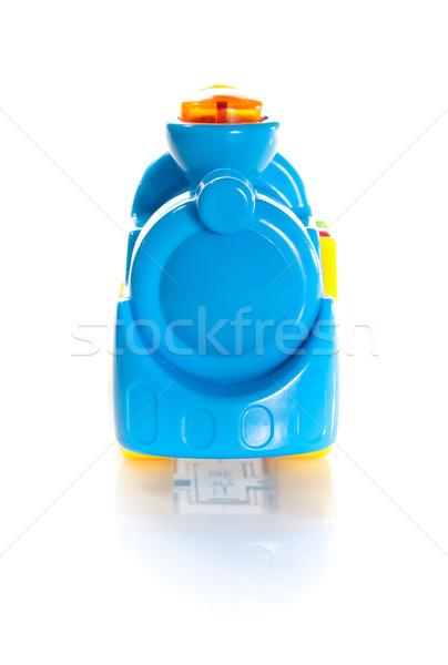 Speelgoed Blauw trein geïsoleerd witte Stockfoto © bmonteny