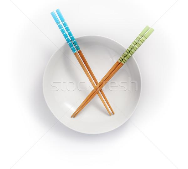 箸 空っぽ ボウル 孤立した 白 緑 ストックフォト © bmonteny