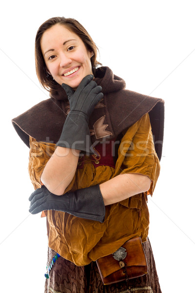 Young woman smiling with her hand on chin Stock photo © bmonteny