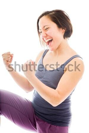 若い女性 空気 笑い 白人 女性 ストックフォト © bmonteny