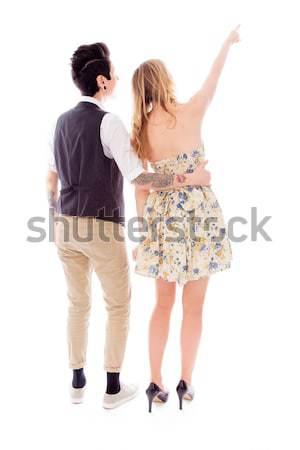 Leszbikus pár áll hát stressz szomorúság Stock fotó © bmonteny
