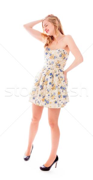 Zdjęcia stock: Młoda · kobieta · cierpienie · głowy · stres · ból · sukienka