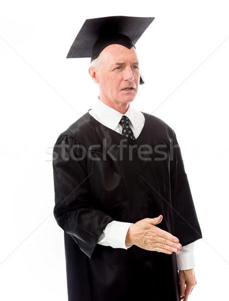 Senior mannelijke afgestudeerde hand handdruk man Stockfoto © bmonteny
