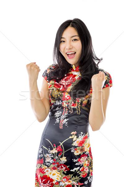 Asian young woman celebrating success Stock photo © bmonteny