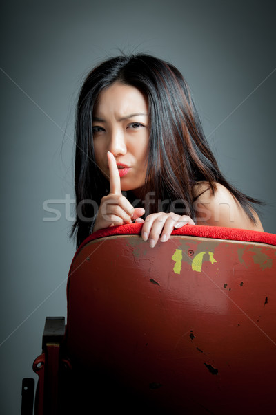 Attractive Asian girl 20s at the theatre isolate white backgroun Stock photo © bmonteny