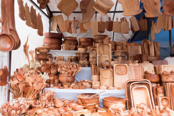 Wooden utensils for sale at a market stall, Mexico City, Mexico Stock photo © bmonteny