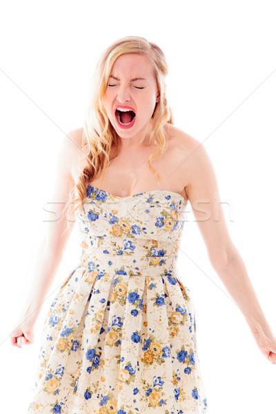 Jonge vrouw naar energie jurk woede Stockfoto © bmonteny