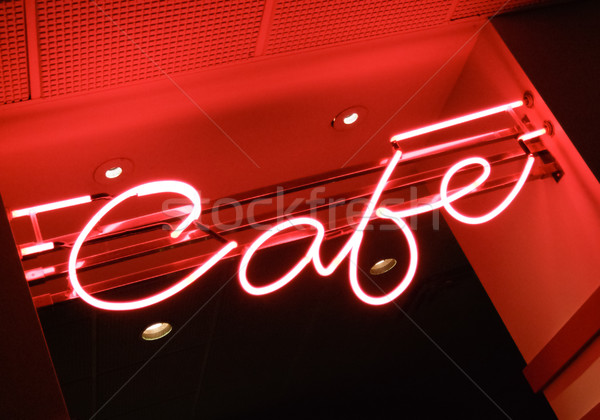 Low angle view of neon sign of a cafe Stock photo © bmonteny