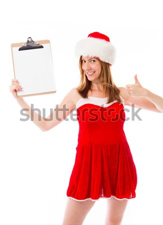 Sexy asian santa claus pointing with ring binder Stock photo © bmonteny