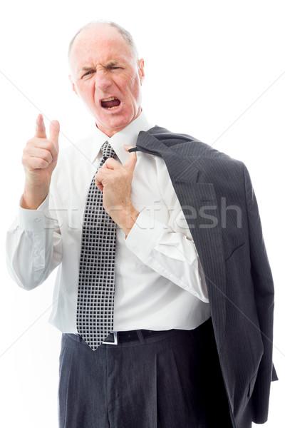 Zaklatott üzletember kommunikáció menedzser áll sikít Stock fotó © bmonteny