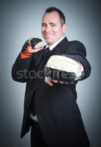 Kaukasisch zakenman 40 jaar oude geïsoleerd grijs Stockfoto © bmonteny