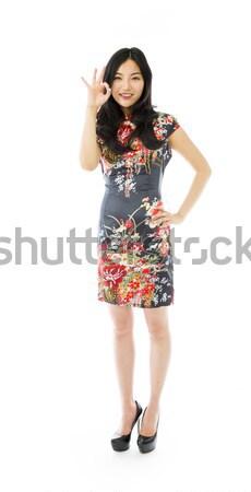 Infeliz asiático mulher jovem para baixo gesto Foto stock © bmonteny
