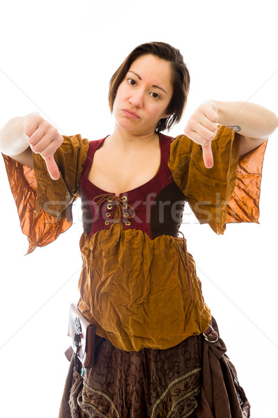 Young woman showing thumbs down sign from both hands Stock photo © bmonteny