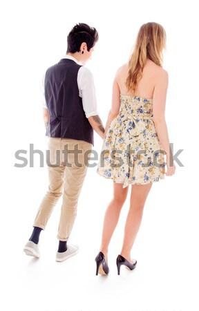 Lesbiche Coppia piedi insieme holding hands romance Foto d'archivio © bmonteny